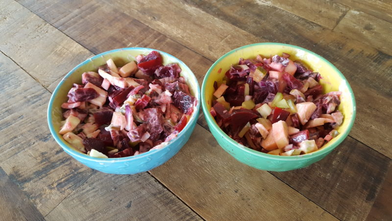 Bietensalade gezond bij de lunch, bbq of diner